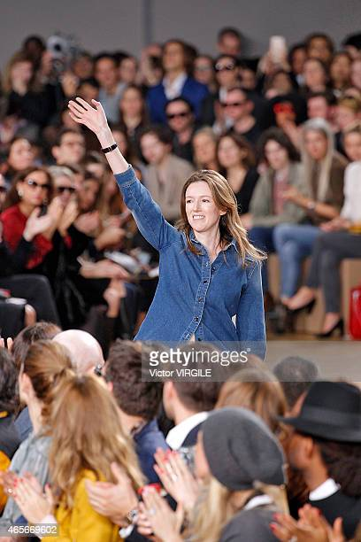 Designer Clare Waight Keller walks the runway during the Chloe show as part of the Paris Fashion Week Womenswear Fall/Winter 2015/2016 on March 8...
