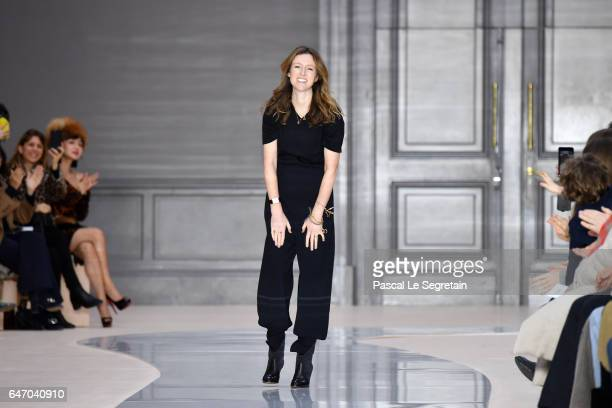 Designer Clare Waight Keller walks the runway during the Chloe show as part of the Paris Fashion Week Womenswear Fall/Winter 2017/2018 on March 2...