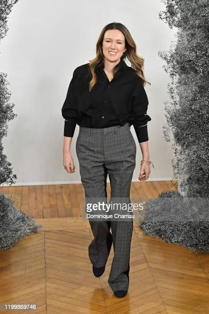 Designer Clare Waight Keller walks the runway during the Givenchy Menswear Fall/Winter 2020-2021 show as part of Paris Fashion Week on January 16,...
