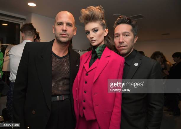 Designer Claude Morais and Brian Wolk attend the Wolk Morais Collection 6 Fashion Show at The Hollywood Roosevelt Hotel on January 17 2018 in Los...