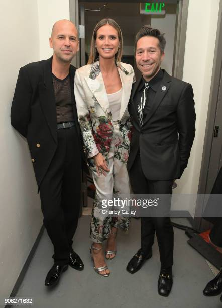Designer Claude Morais Heidi Klum and designer Brian Wolk attend the Wolk Morais Collection 6 Fashion Show at The Hollywood Roosevelt Hotel on...