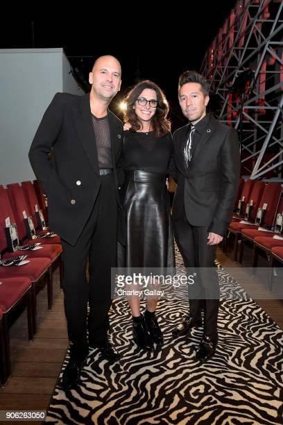 Designer Claude Morais stylist Elizabeth Stewart and designer Brian Wolk attend the Wolk Morais Collection 6 Fashion Show at The Hollywood Roosevelt...