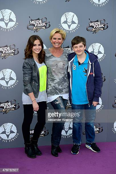 Designer Claudia Effenberg together with her children Lucia Effenberg and Thomas Strunz attends the opening of the new wing coaster 'Flug der...