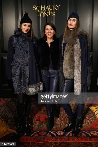 Designer Claudia von Schacky poses with models at the Schacky And Jones show during MercedesBenz Fashion Week Autumn/Winter 2014/15 at Hotel De Rome...