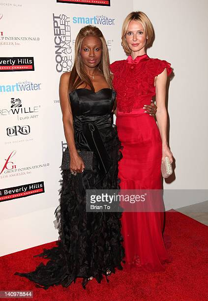 Designer Coco Johnsen and Vanessa Branch attend Fashion Group International's Meet the Designer the Muse at Ace Gallery on March 8 2012 in Los...