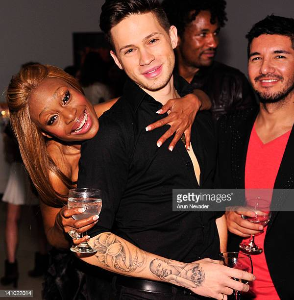 Designer Coco Johnsen makeup artist Spencer Wells and stylist Alejandro Peraza attend Meet The Designer and the Muse at Ace Gallery on March 8 2012...