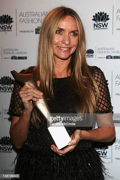 Designer Collette Dinnigan poses with 2012 Australian Fashion Laureate after being announced as Australian Fashion Laureate on day four of...