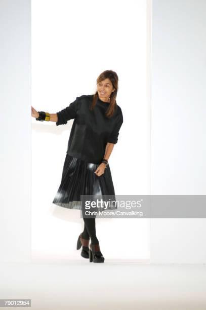 Designer, Consuela Castiglioni walks the catwalk during the Marni fashion show as part of Autumn Winter 2008/2009 Milan Menswear fashion week on...