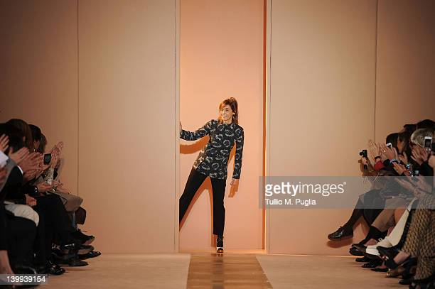 Designer Consuelo Castiglioni acknowledges the audience at the end the Marni Autumn/Winter 2012/2013 fashion show as part of Milan Womenswear Fashion...