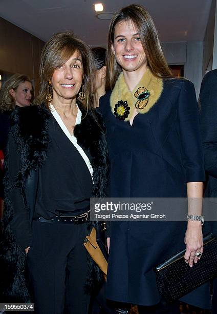 Designer Consuelo Castiglioni and her daughter Carolina Castiglioni attend the Elle Soiree Privee during the Mercedes-Benz Fashion Week at the...