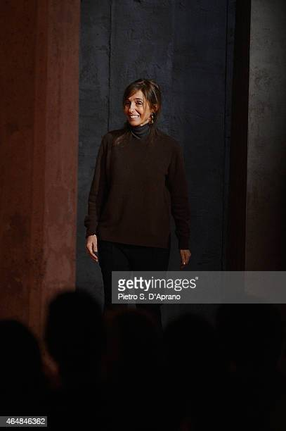 Designer Consuelo Castiglioni walks the runway at the Marni show during the Milan Fashion Week Autumn/Winter 2015 on March 1, 2015 in Milan, Italy.