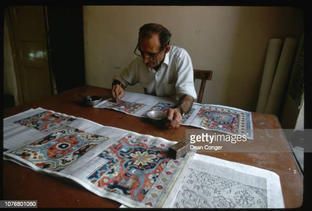 Designer Creating Patterns for Persian Rugs