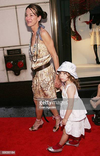 Designer Cynthia Rowley and daughter arrive at a party for Madonna's new children's book Lotsa De Casha at Bergdorf Goodman June 7 2005 in New York...