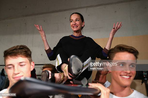 Designer Cynthia Rowley poses backstage ahead of the Cynthia Rowley show at MercedesBenz Fashion Week Resort 17 Collections at Carriageworks on May...