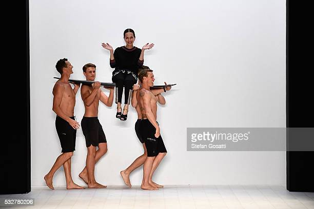 Designer Cynthia Rowley thanks the audience during the Cynthia Rowley show at MercedesBenz Fashion Week Resort 17 Collections at Carriageworks on May...