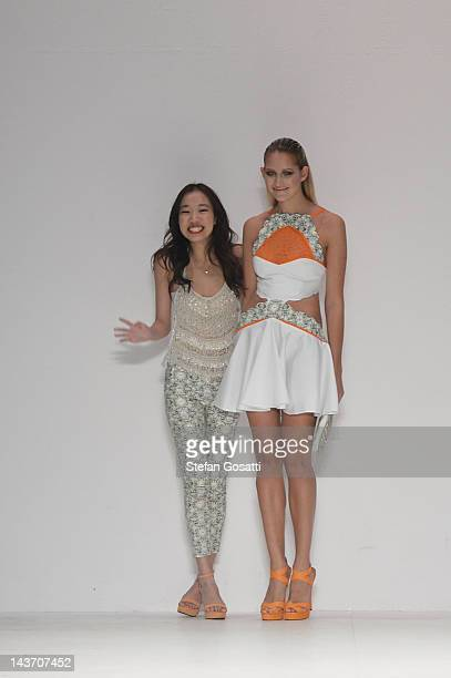 Designer Cynthia Thai of the Innovators group show on the catwalk on day four of Mercedes-Benz Fashion Week Australia Spring/Summer 2012/13 at the...
