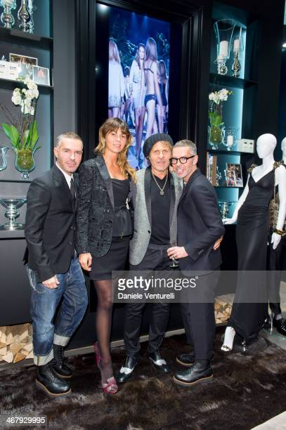 Designer Dan Caten Arianna Alessi Renzo Rosso and Dean Caten attend Dsquared2 St Moritz New Store Opening Cocktail Reception on February 8 2014 in St...