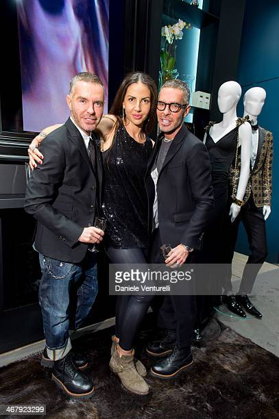 Designer Dan Caten Benedetta Mazzini and Dean Caten attend Dsquared2 St Moritz New Store Opening Cocktail Reception on February 8 2014 in St Moritz...