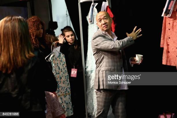 Designer Dan Liu directs models during Dan Liu fashion show during New York Fashion Week The Shows at Gallery 3 Skylight Clarkson Sq on September 10...