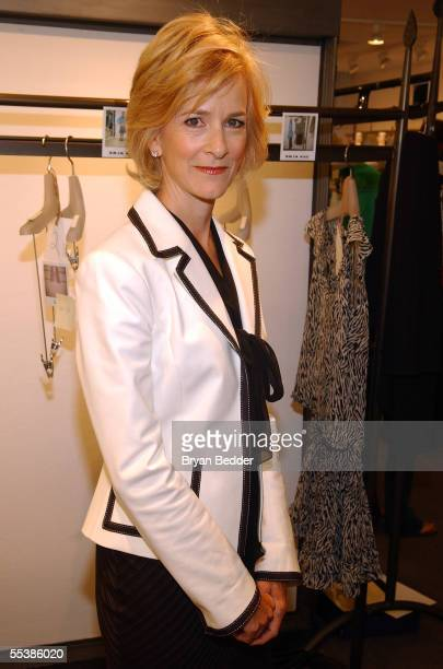 Designer Dana Buchman poses backstage at the Dana Buchman Spring 2006 fashion show during Olympus Fashion Week at Bryant Park September 12 2005 in...