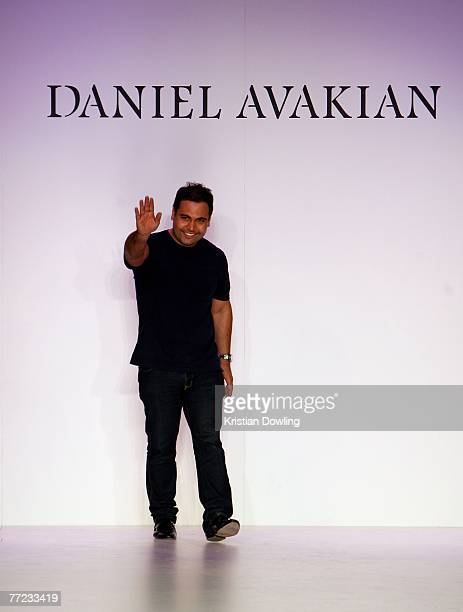 Designer Daniel Avakian of the label Daniel Avakian acknowledges the audience following his catwalk collection show as part of the New Generation...