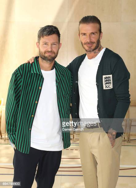 Designer Daniel Kearns with David Beckham at the Kent Curwen SS18 LFWM Presentation on June 11 2017 in London England
