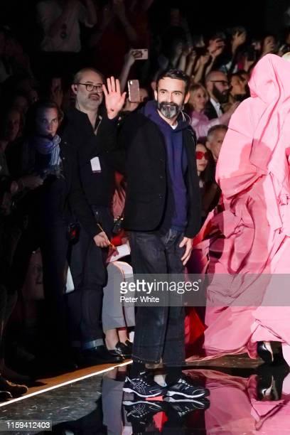 Designer Daniel Roseberry acknowledges the applause of the public after the Schiaparelli Haute Couture Fall/Winter 2019 2020 show as part of Paris...
