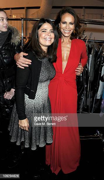 Designer Daniella Issa Helayel and Andrea Dellal attend the Issa London catwalk show during London Fashion Week Autumn/Winter 2011 at Somerset House...