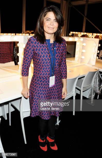 Designer Daniella Issa Helayel poses backstage at the Issa London catwalk show during London Fashion Week Autumn/Winter 2012 at Somerset House on...