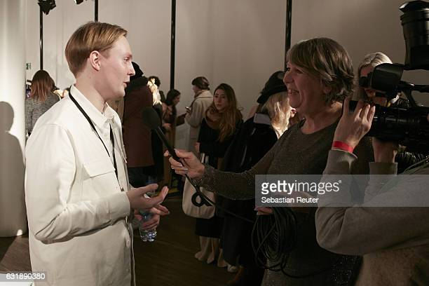 Designer Danny Reinke is seen at the Danny Reinke show during the Mercedes-Benz Fashion Week Berlin A/W 2017 at Stage at me Collectors Room on...