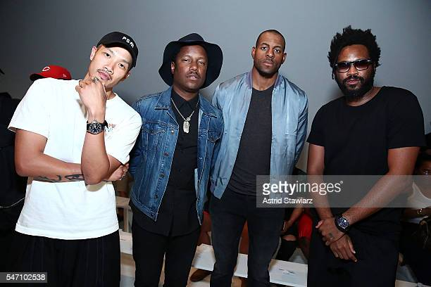 Designer DaoYi Chow stylist Marcus Troy basketball player for the Golden State Warriors Andre Iguodala and designer Maxwell Osborne attend Rochambeau...