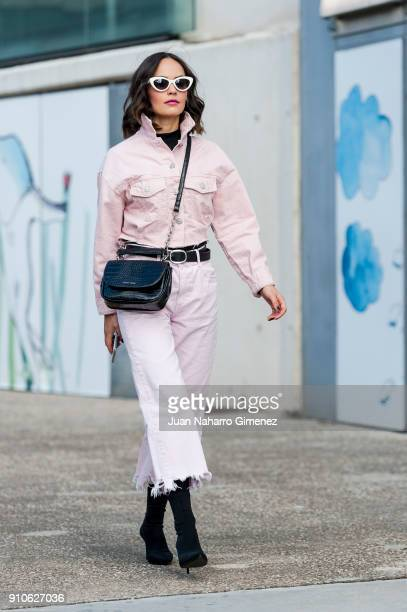 Designer Daria Vasilieva wears Mango shoes Zara trousers Daria Maria jacket and Gloria Ortiz handbag during Mercedes Benz Fashion Week Madrid Autumn...