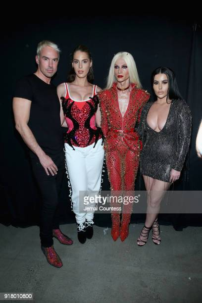 Designer David Blond Carmen Carrera Phillipe Blond and Amra Olevic pose backstage at The Blonds front row during New York Fashion Week The Shows at...