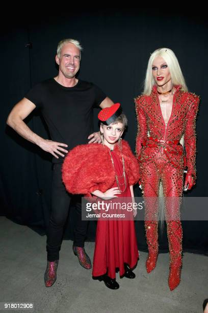 Designer David Blond Desmond and Phillipe Blond attend The Blonds front row during New York Fashion Week The Shows at Gallery I at Spring Studios on...