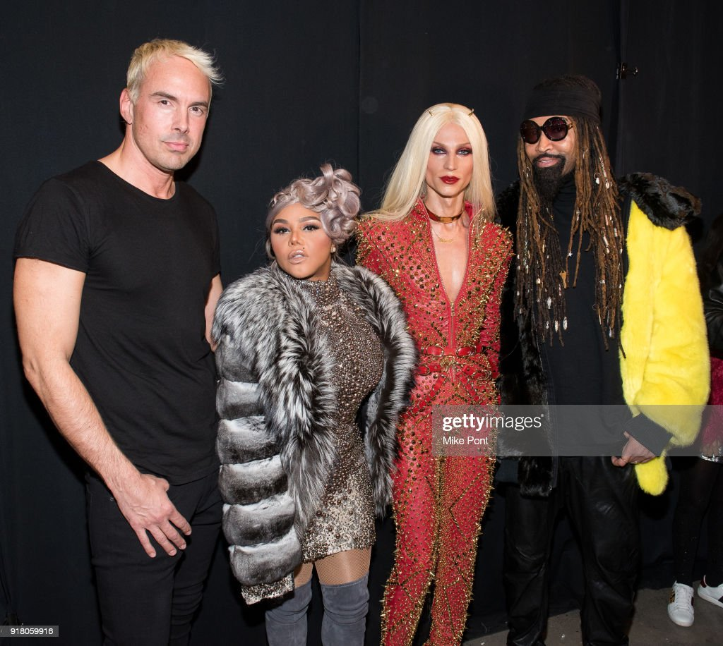 Designer David Blond, Lil' Kim, designer Philip Blond, and stylist Ty Hunter pose backstage at The Blonds fashion show during New York Fashion Week: The Shows at Spring Studios on February 13, 2018 in New York City.