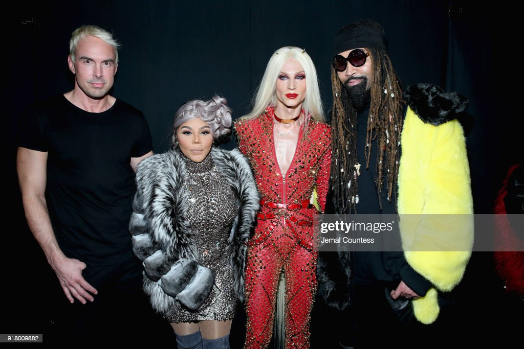 Designer David Blond, Lil' Kim, Designer Phillipe Blond, and Ty Hunter attend The Blonds front row during New York Fashion Week: The Shows at Gallery I at Spring Studios on February 13, 2018 in New York City.