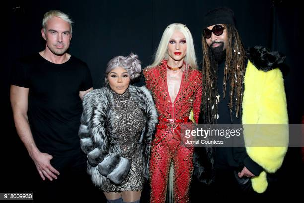 Designer David Blond Lil' Kim Designer Phillipe Blond and Ty Hunter attend The Blonds front row during New York Fashion Week The Shows at Gallery I...