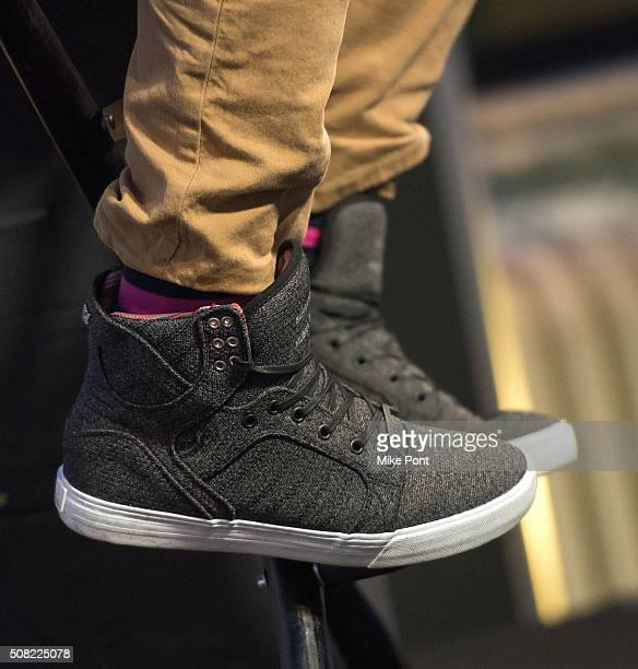 Designer David Bromstad shoe detail attends the AOL Build Speaker Series at AOL Studios In New York on February 3 2016 in New York City