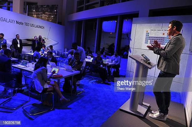 Designer David Bromstad speaks at the Samsung Galaxy Note 101 Launch Event at Jazz at Lincoln Center on August 15 2012 in New York City