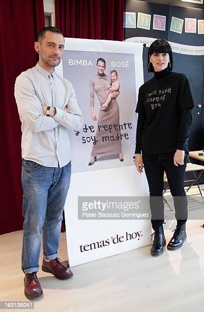 Designer David Delfin and Bimba Bose attend 'Y De Repente Soy Madre' book presentation at Baby Deli shop on March 5 2013 in Madrid Spain