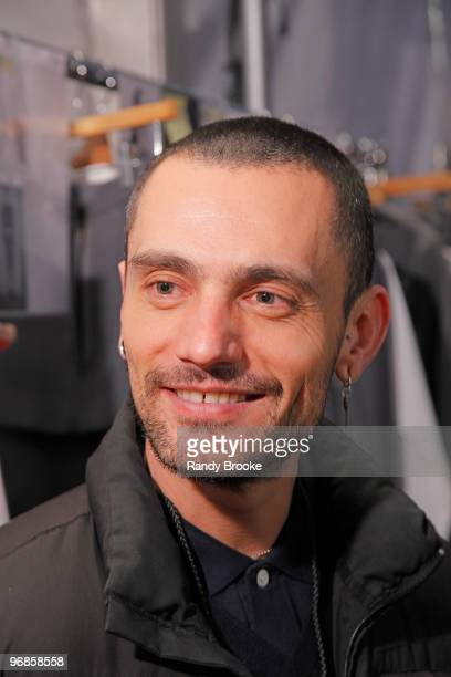 Designer David Delfin backstage at the David Delfin Fall 2010 show during the Mercedez Benz Fashion Week on February 18 2010 in New York City