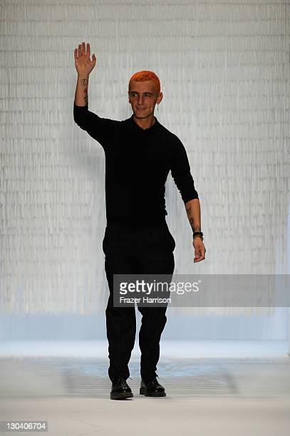 Designer David Delfin on the runway during Davidelfin Spring 2010 presented by MercedesBenz at Bryant Park on September 10 2009 in New York City