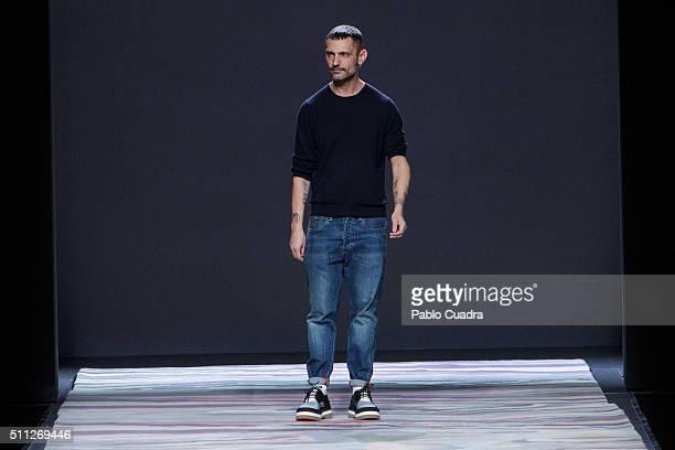 Designer David Delfin walks the runway at the Davidelfin show during the MercedesBenz Madrid Fashion Week Autumn/Winter 2016/2017 at Ifema on...