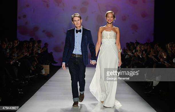 Designer David Dixon presents his fall 2014 collection during World MasterCard Fashion Week Fall 2014 at David Pecaut Square on March 18 2014 in...