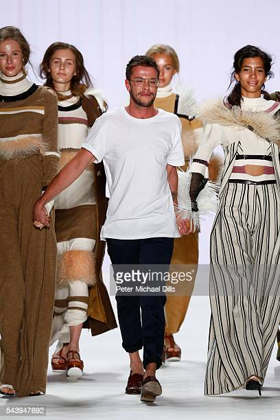 Designer David Kaelble and models acknowledge the applause of the audience after the fashion talent award 'Designer for Tomorrow' by Peek Cloppenburg...
