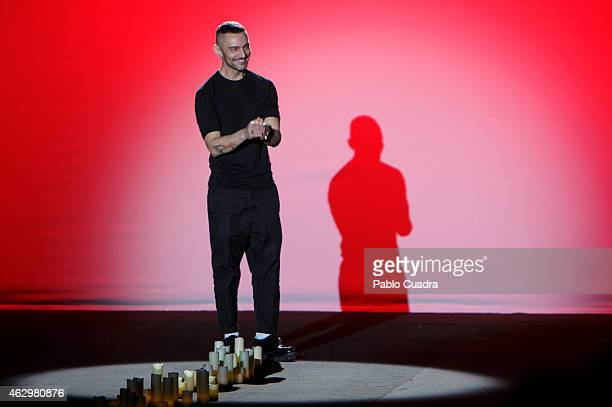 Designer David walks the runway at the end of Davidelfin show during Mercedes Benz Madrid Fashion Week Fall/Winter 2015/16 at Ifema on February 8...