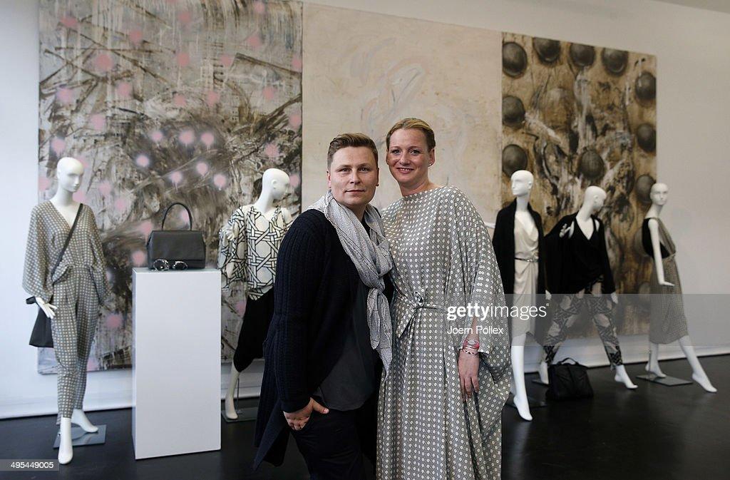 Designer Dawid Tomaszewki (L) and Jenny Falckenberg pose during the 'Dawid Tomaszewki Pop-Up Store Opening' on June 3, 2014 in Hamburg, Germany.