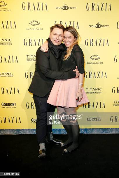Designer Dawid Tomaszewski and designer Marina Hoermanseder during the Grazia Fashion Dinner at Titanic Deluxe Hotel on January 16 2018 in Berlin...