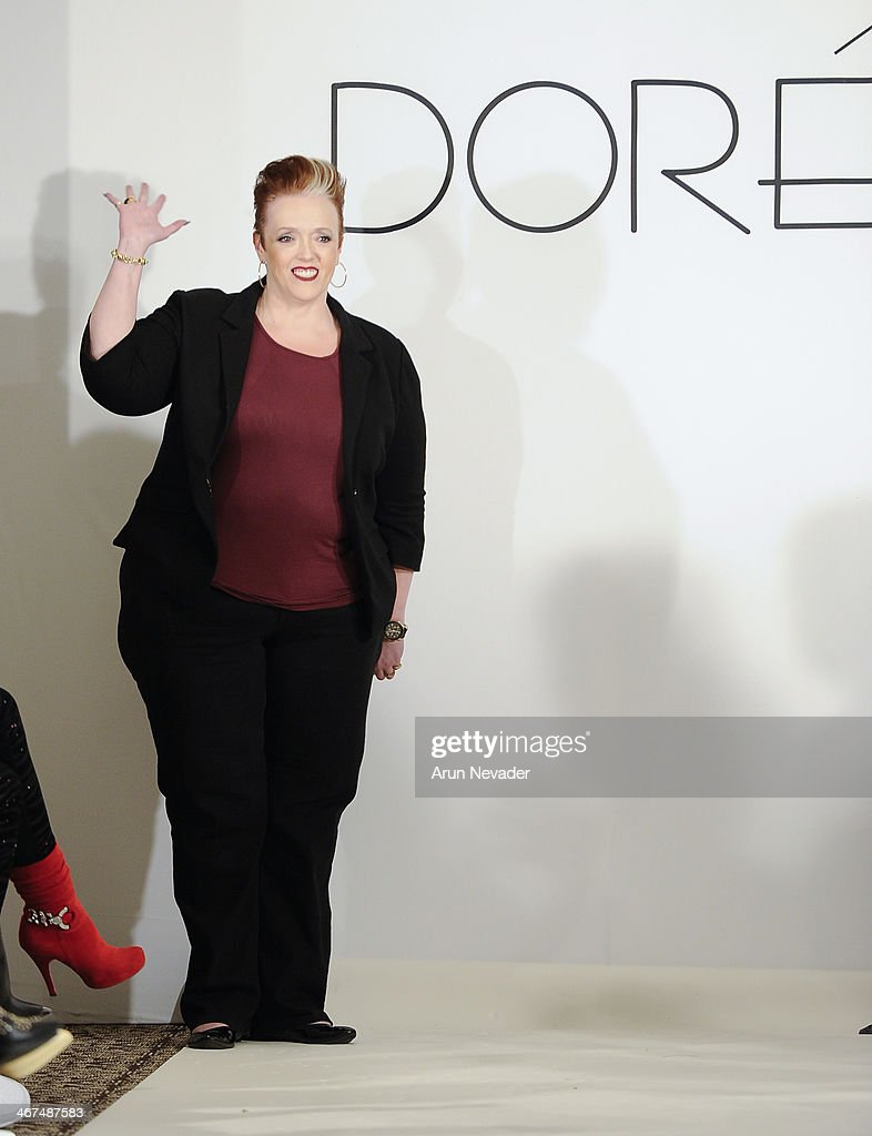 Designer Dawn Smart appears on the runway at the Dore fashion show during Mercedes-Benz Fashion Week Fall 2014 at Empire Hotel on February 6, 2014 in New York City.
