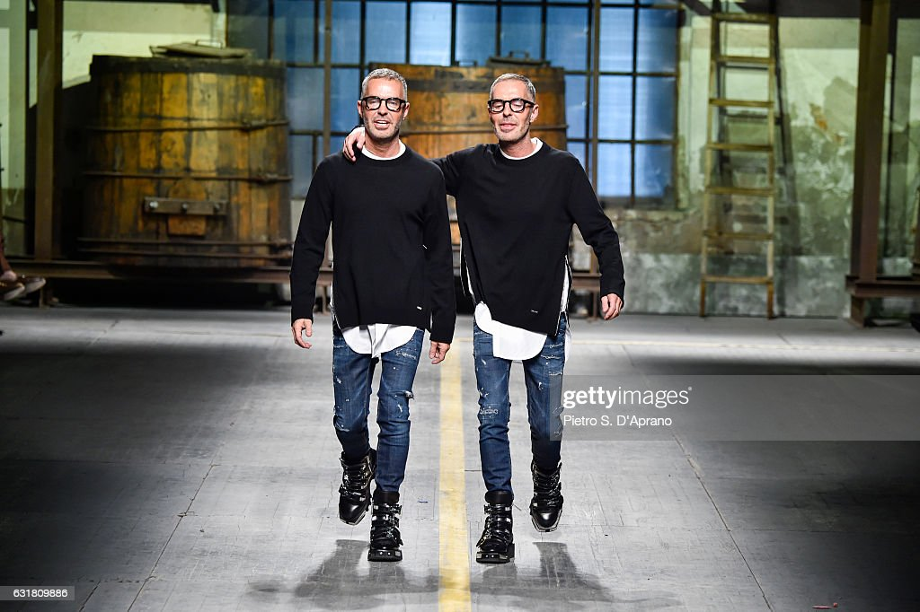 Designer Dean and Dan walk the runway at the Dsquared2 show during Milan Men's Fashion Week Fall/Winter 2017/18 on January 15, 2017 in Milan, Italy.